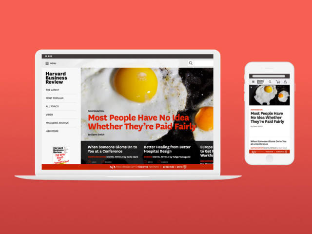 A mock-up of the HBR.org homepage on a laptop and mobile device, side-by-side.