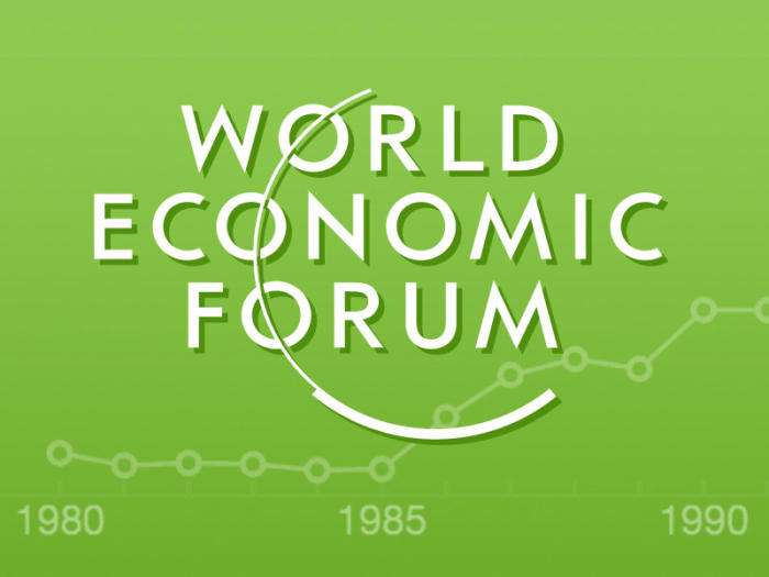 The World Economic Forum logo superimposed over a faded line-chart, set on a green background