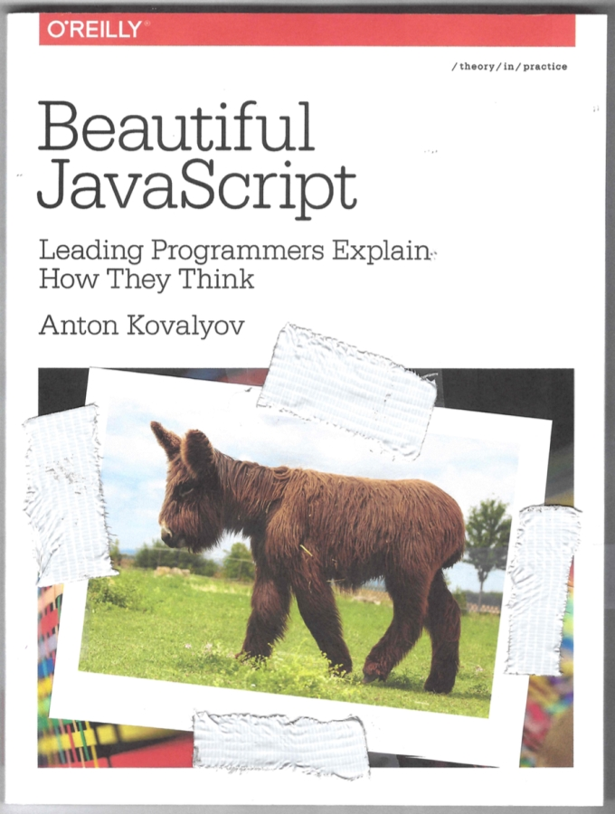 Beautiful JavaScript cover with a mini donkey montage