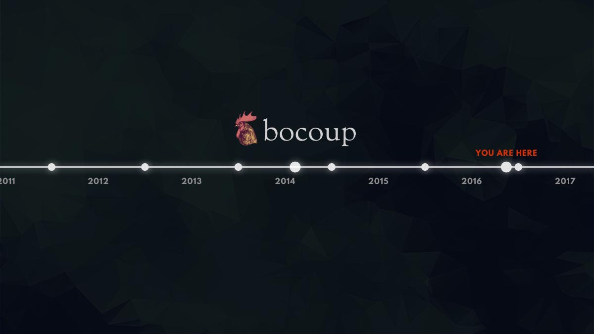 "A timeline from 2011 to 2017, with the approximate current day marked ""you are here"" and the Bocoup logo marking mid-2014."