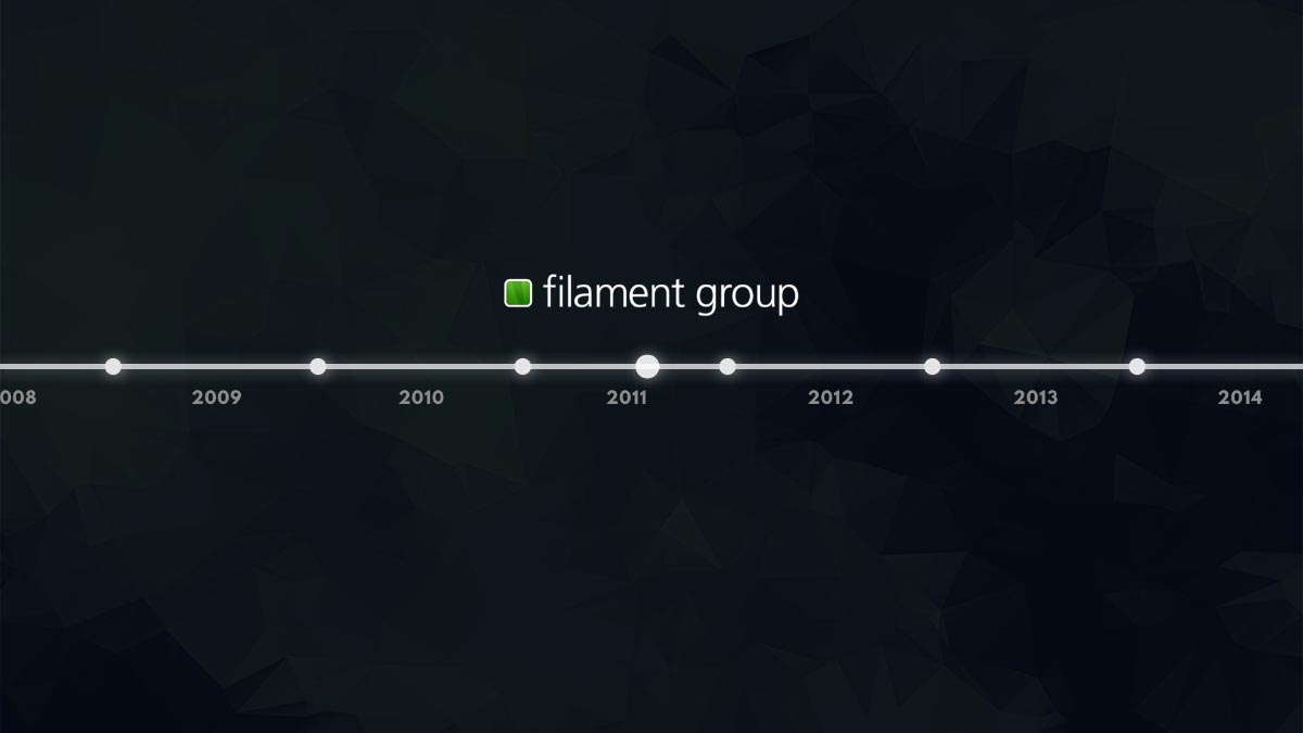 A timeline from 2008 to 2014, with the Filament Group logo marking mid-2011.