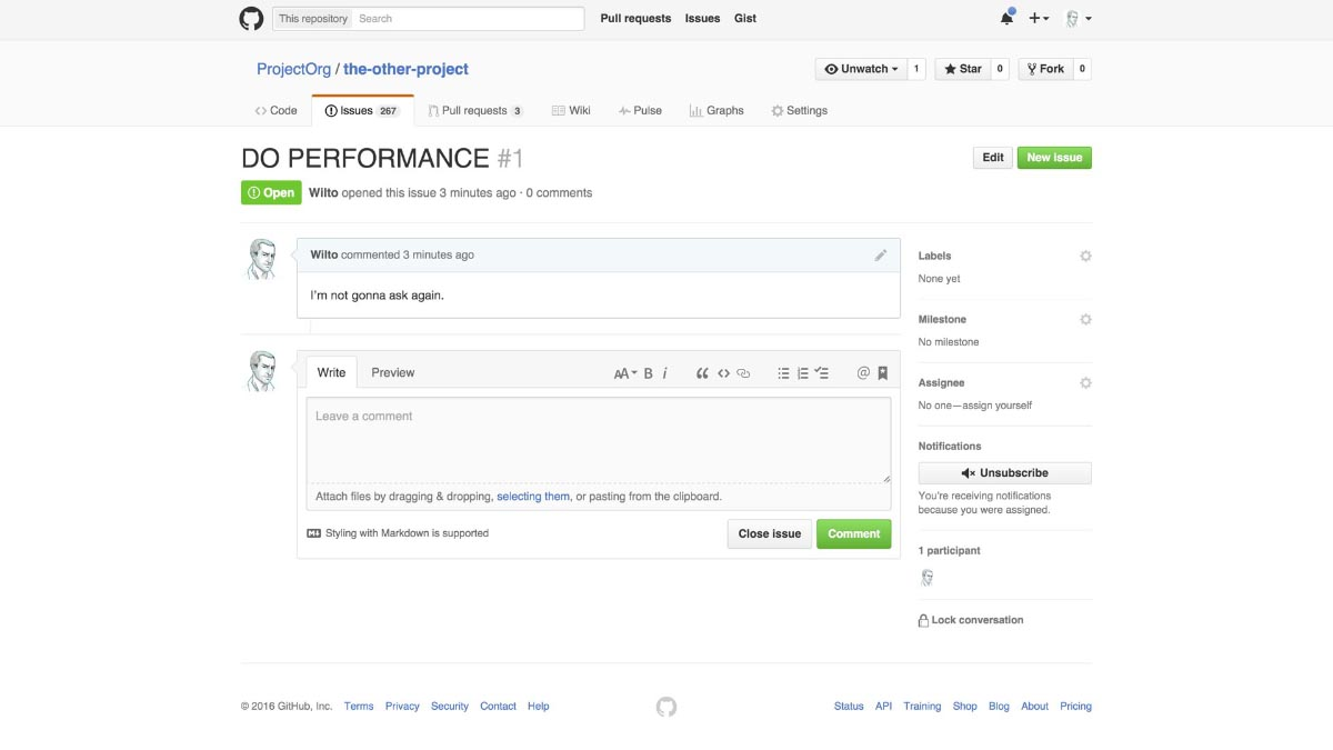 "Screenshot of a GitHub issue page, with the name ""do performance"" in all caps, and a comment reading ""I'm not gonna ask again."""