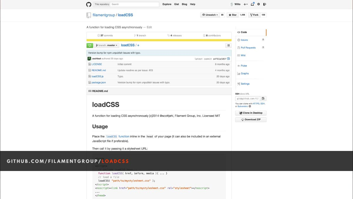 Screenshot of the LoadCSS GitHub repository landing page.