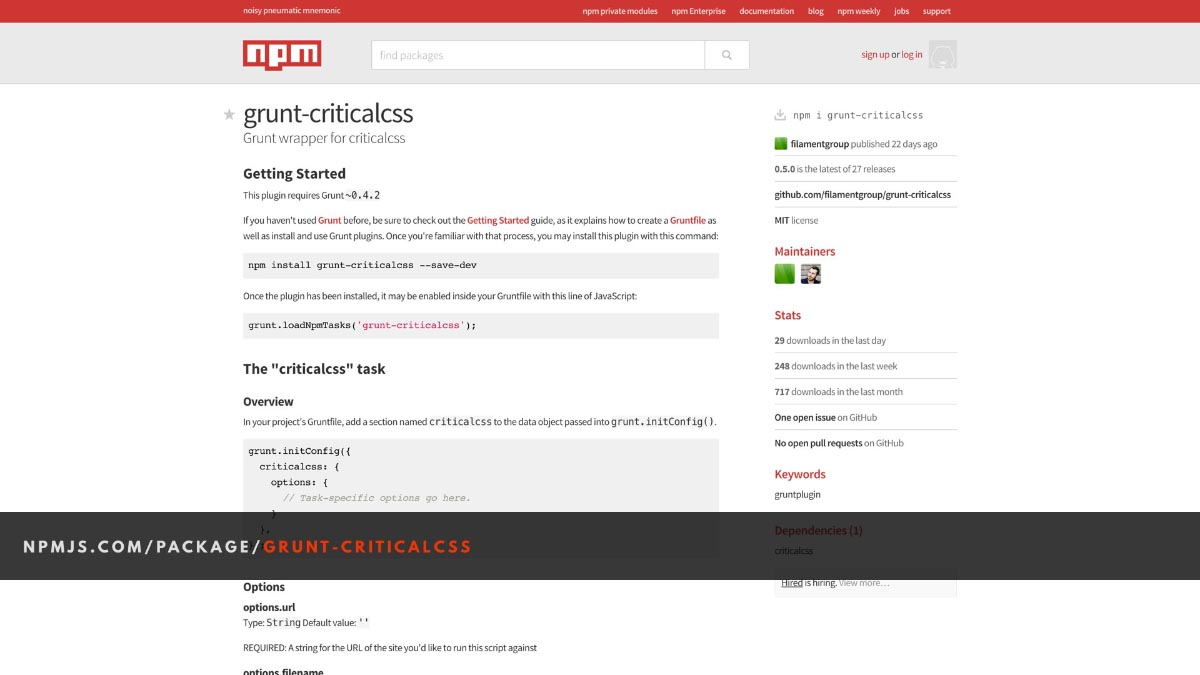 Screenshot of the NPM landing page for the grunt-criticalcss project.