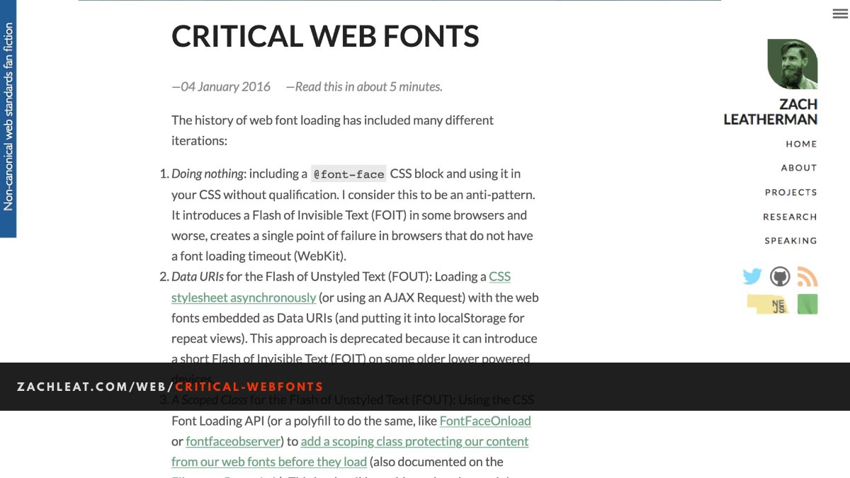 Screenshot of the Critical Webfonts blog post, linked below