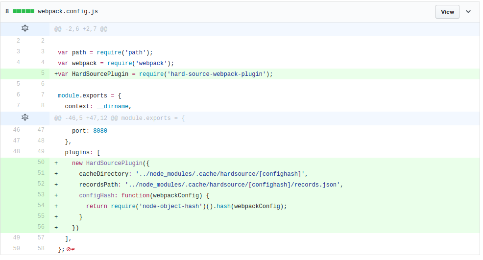 Screenshot of a git diff of the addition of hardsource into a project