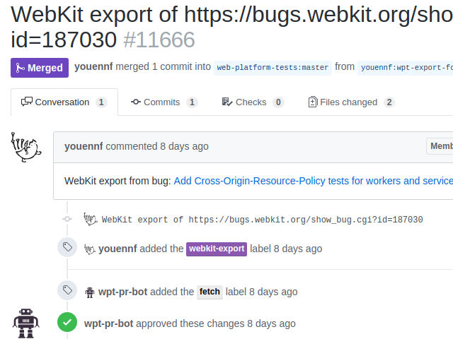 Screenshot of a successful export of tests from WebKit to WPT.