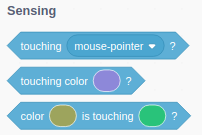 A screenshot of touching Blocks from the new version of Scratch 3.0.