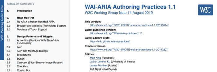 Screenshot of the WAI-ARIA Authoring Practices 1.1 Draft