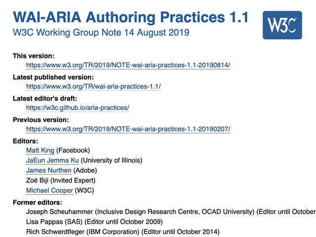 Screenshot of WAI-ARIA Authoring Practices home page