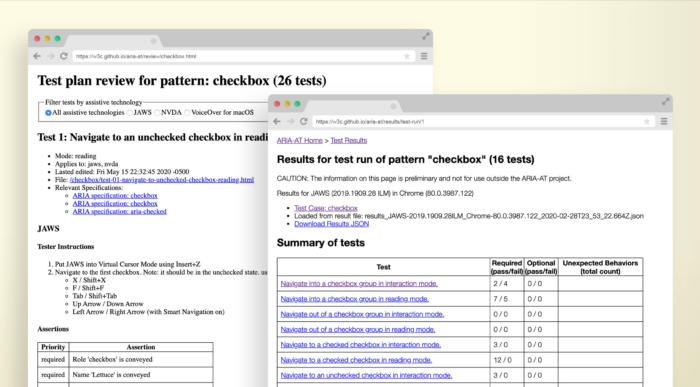 Two layered screenshots of the Aria-AT prototype, each in its own illustrated browser window. The first is of a test plan for checkbox. The second is of test run results for the checkbox pattern.