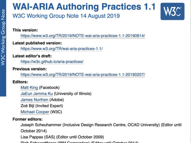 Screenshot of the WAI-ARIA Authoring Practices 1.1 Draft.